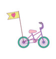 little bicycle transport with flag cartoon vector image