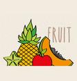 pineapple papaya apple and carambola slice fruit vector image