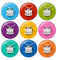 Round icons with drum toys vector image vector image