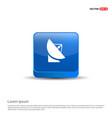 satellite dish icon - 3d blue button vector image