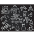 set of black and white hand drawn Christmas vector image vector image