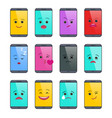 smartphone with funny emoticons isolated set vector image vector image