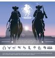 vintage cowboy rodeo concept vector image vector image