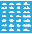white clouds icon set on blue background vector image vector image
