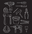 work tools home repair chalk sketch icons vector image vector image