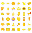 yellow thing icons set cartoon style vector image