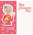 Elderly woman with flowers vector image