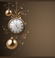 2017 new year background with clock and silver vector image vector image