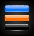 3d glass buttons blue black and orange icons vector image vector image