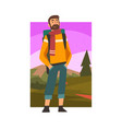 bearded man travelling with backpack male vector image vector image