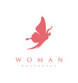 beauty woman silhouette with flying butterfly vector image vector image