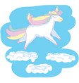 beautyful unicorn on blue scetchy background with vector image vector image