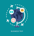 Business Concept Business Trip in Flat Design vector image