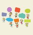 cartoon children with speech bubbles vector image vector image