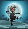 cartoon devil jumps in the moonlit night vector image