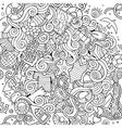 Cartoon hand-drawn doodles nautical marine vector image