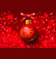 christmas greeting card design xmas ball red vector image