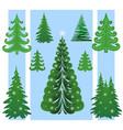 christmas trees set vector image vector image