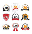 collection of retro twenty years anniversary logo vector image vector image