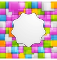 Colorful squares background and retro label vector image vector image