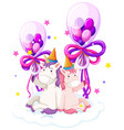 cute unicorn holding birthday balloon vector image