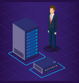 data center technology and business person vector image