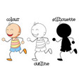 different kind graphic boy running vector image