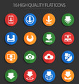 download 16 flat icons vector image