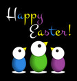 easter greeting card - colored chicken eggs text vector image