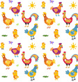 Easter seamless pattern with hen and nest hen and vector image vector image