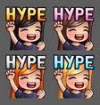 emotion icons happy hype female vector image vector image