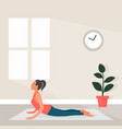 female yoga in flat style vector image