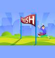 finish marathon concept background cartoon style vector image