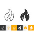 fire bonfire flame simple black line icon vector image