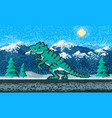 fire dinosaur and mountain landscape game concept vector image vector image