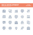 flat line icons design-seo and development vector image