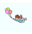 flying cartoon angel with balloons in hand vector image vector image