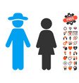 gentleman and lady icon with valentine bonus vector image vector image