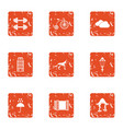 german care icons set grunge style vector image