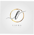 gold elegant initial letter type l vector image vector image