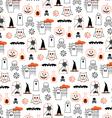 halloween pumpkins and owls vector image