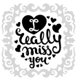 Hand-drawn lettering with hearts vector image