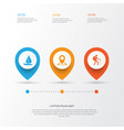 journey icons set collection of location boat vector image vector image