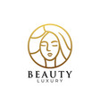 logo beauty gold color luxury style vector image