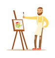 man artist holding palette and brush standing near vector image vector image