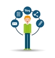 man green sweater standing with social network vector image