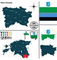 map of voru estonia vector image vector image