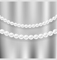 natural white pearl necklace vector image vector image