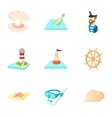 Nautical theme icons set cartoon style vector image vector image