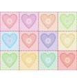 pattern with sewed felt hearts vector image